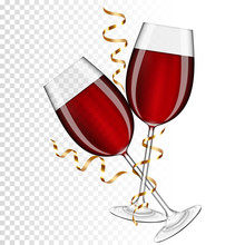 Two Glasses Of Red Wine With Gold Ribbon, Isolated.