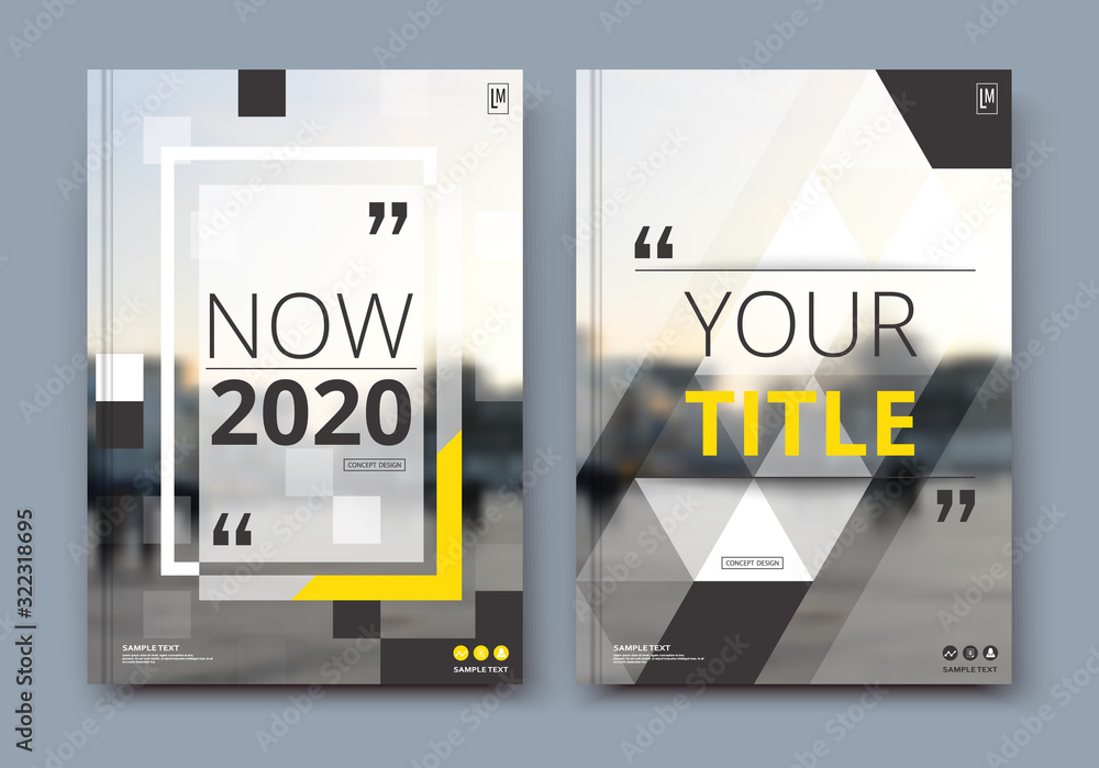 Fototapeta Business review brochure cover design in A4. Techno info banner frame, ad flyer text font or title sheet model set. Modern vector front page art with urban city street texture. Yellow line figure icon