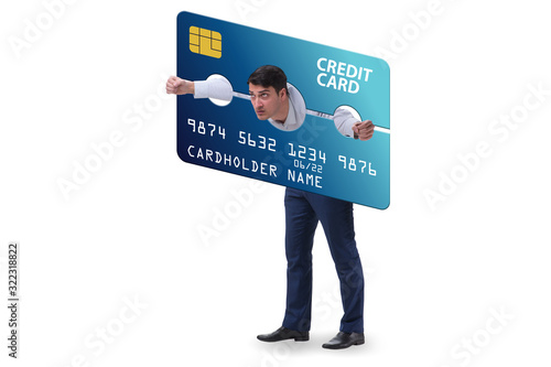 Photo Businessman in credit card burden concept in pillory