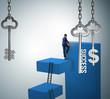 Leinwanddruck Bild Businessman in key to financial success concept
