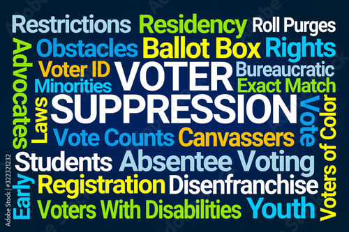 Foto Voter Suppression Word Cloud on Blue Background