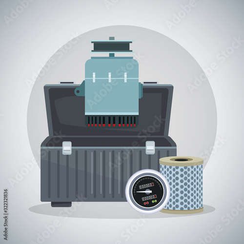 Photo tools box with car alternator, air filter and speed meter