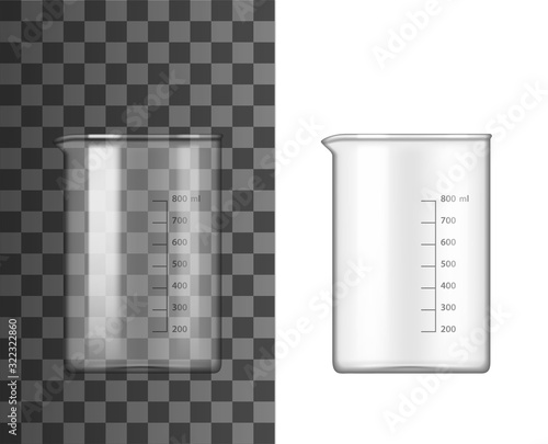 Glass beaker lab glassware 3d vector design of chemistry and science equipment Canvas Print
