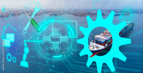Fotografie, Obraz Aerial of cargo ship carrying container with maintenance technology concept  cargo yard port to other ocean concept freight shipping ship on blue sea background