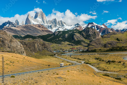 Road to El Chalten and panorama with Fitz Roy mountain at Los Glaciares National Canvas Print