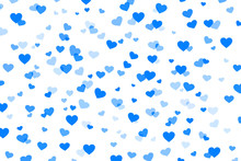 Abstract Background With Blue Hearts On White For Valentines Day. Romantic Pattern For Valentine's Day.