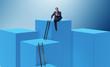 Leinwanddruck Bild Businessman climbing blocks in career ladder business concept