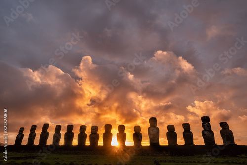Ahu Tongariki is the largest ahu on Easter Island at sunrise, Chile Canvas Print
