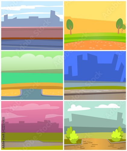 Cards with natural landscape backgrounds, urban city buildings silhouettes Canvas Print