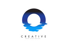 O Letter Logo Design With Water Effect And Deep Blue Gradient Vector Illustration