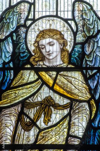 Obraz na plátně Blue Angel Stained Glass Window
