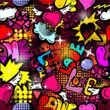 Fototapeta Młodzieżowe - A seamless background of love. Graffiti. Print with hearts. Happy Valentine's Day. Vector illustration