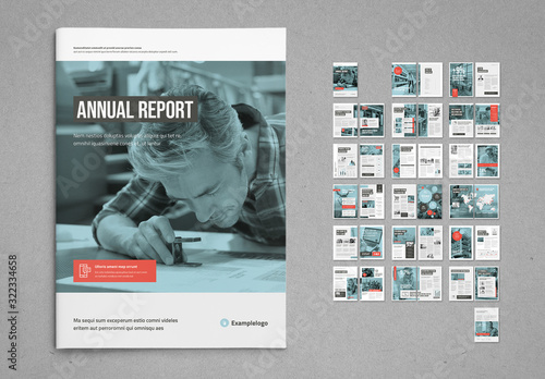 Fototapeta White and Pale Blue with Coral Accents Annual Report Layout obraz