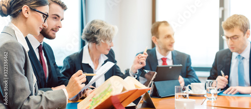 lawyer teams negotiating an agreement Canvas Print
