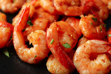 Delicious Cooked Shrimps On Pl...