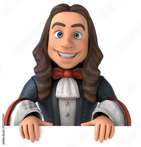 Cartoon man in historical baroque costume Canvas Print