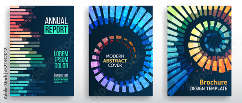 Obraz Minimal covers design with lines, spirals, shapes. Tech futuristic brochure. Abstract technology template. Vector geometric illustration. - fototapety do salonu