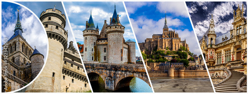 Fototapeta Castles of France collage. Mont Saint Michele,  Castle of Sully sur Loire and Benedictine palace in Fecamp. obraz