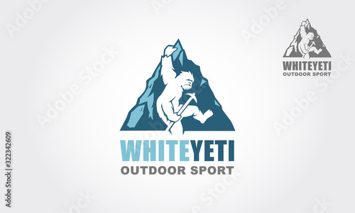 Fotografia White Yeti Outdoor Sport Vector Logo Illustration