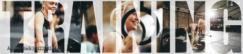 Fotografia Collage of a fit young woman training at the gym