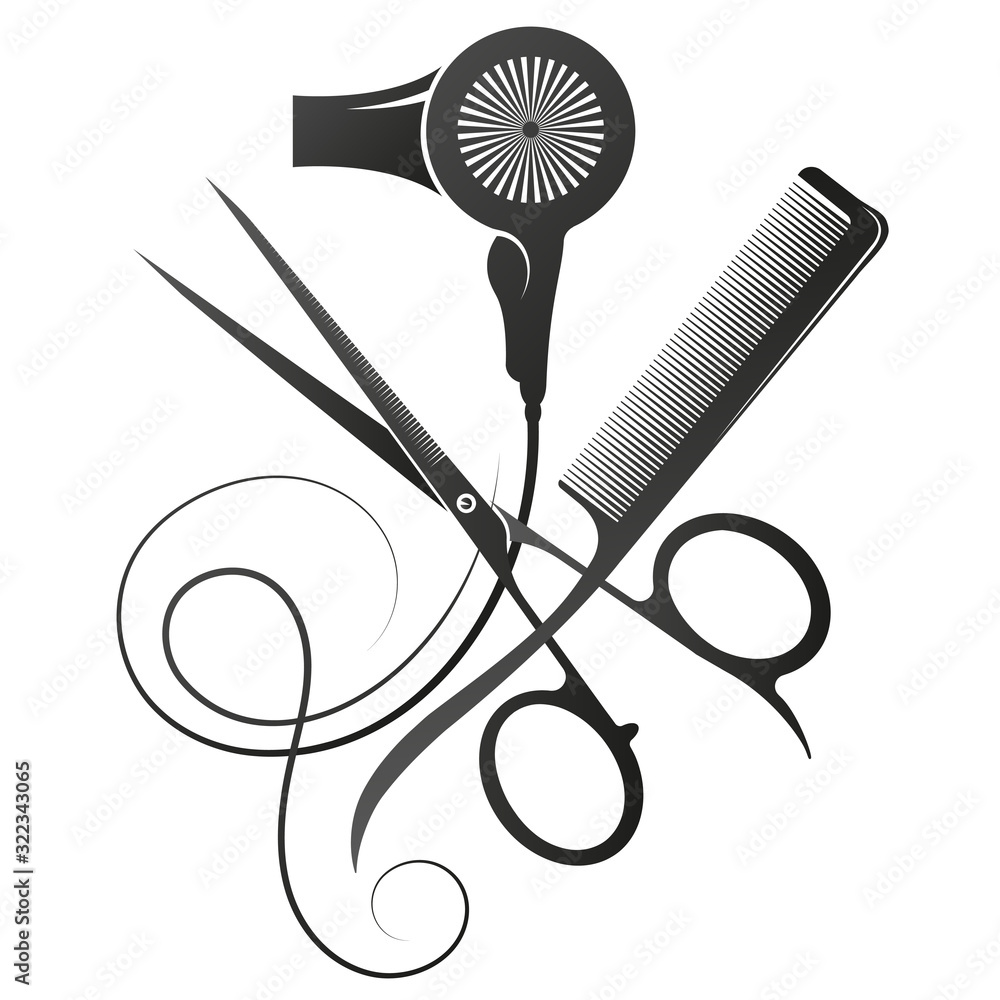 Fototapeta Scissors and comb stylist hair dryer symbol of a beauty salon and hairdresser