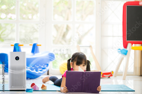 air purifier of colorful playing room for kids,  air cleaner removing fine dust in house Canvas Print