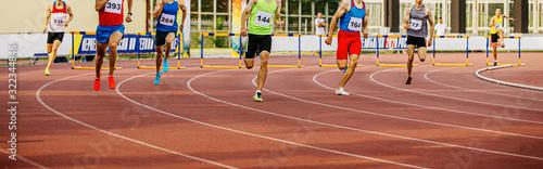 400 meters hurdles men runners in athletics Canvas Print