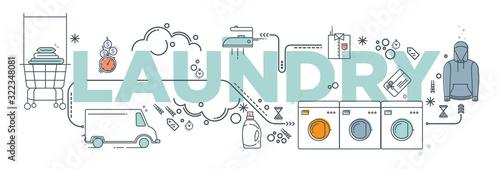 Hand drawn doodle Laundry set Vector illustration washing icons isolated on the white background Fototapeta
