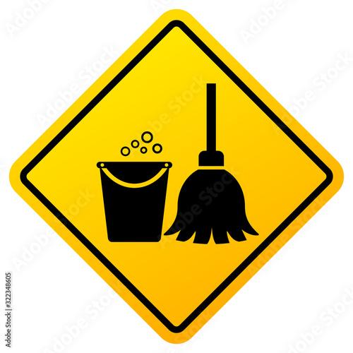 Slika na platnu Cleaning in progress warning sign