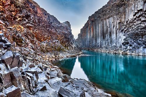 Canvas Print Studlagil basalt canyon, Jokulsa a Dal River