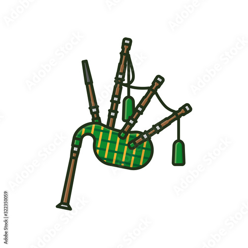 Fotografiet Scottish bagpipe isolated vector illustration