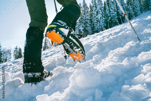 Fototapeta Close up shot of mountain boots with crampons and snow gaiters with snowy spruces on the background . High mountaineer pounding boots in hard snow ascending UP on the summit. obraz