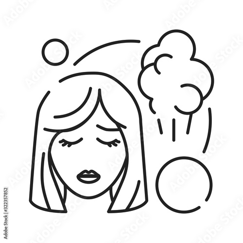 Early pregnancy symptoms fart black line icon Canvas-taulu