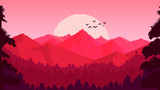 Fototapeta  - Sunset in the mountains