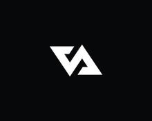 Creative And Minimalist Letter VA Logo Design Icon, Editable In Vector Format In Black And White Color