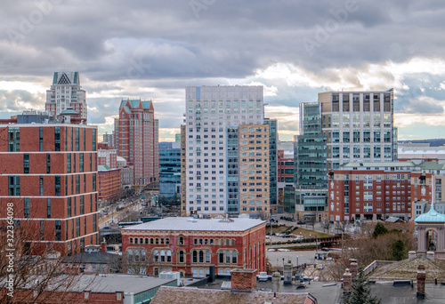Providence, Rhode Island, city skyline from Prospect Terrace Park on a winter day