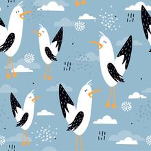 Seamless Pattern, Birds, Hand ...