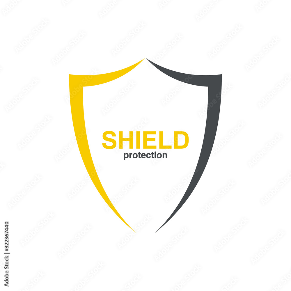 Fototapeta Vector logo shield for security company. Protection symbol on white background.