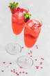 Strawberry sparkling st valentines cocktail. Selective focus, copy space.