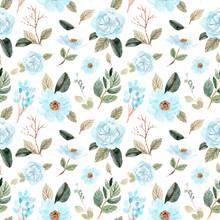 Soft Blue Green Flower Watercolor Seamless Pattern