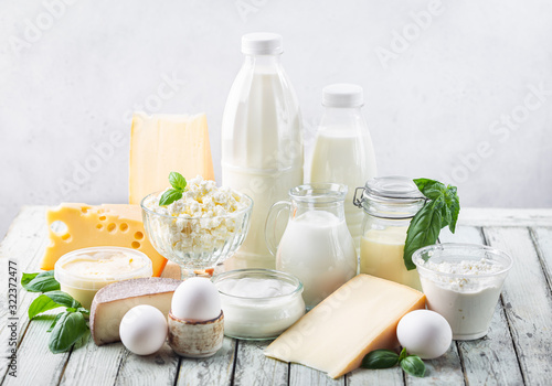 Cuadros en Lienzo Fresh dairy products, milk, cottage cheese, eggs, yogurt, sour cream and butter