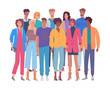 Group of young people vector set illustration