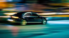 Motion Car On A Black Background