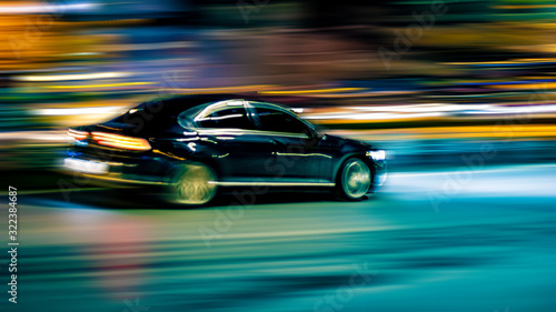 Cuadros en Lienzo motion car on a black background