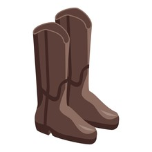 Cowboy Boots Icon. Isometric O...