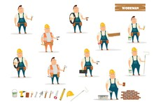 Set Of Builders With Different Tools. Vector Cartoon Illustration