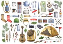 Big Watercolor Set Of Camping ...