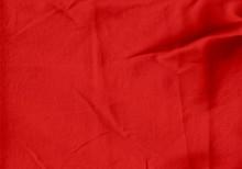 Wrinkled Red Denim Fabric