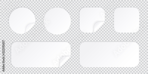 Round and square sticker with bent corner, white patches template isolated with shadow, sticky price tag or promo label with flipped folded corner vector illustration Canvas Print