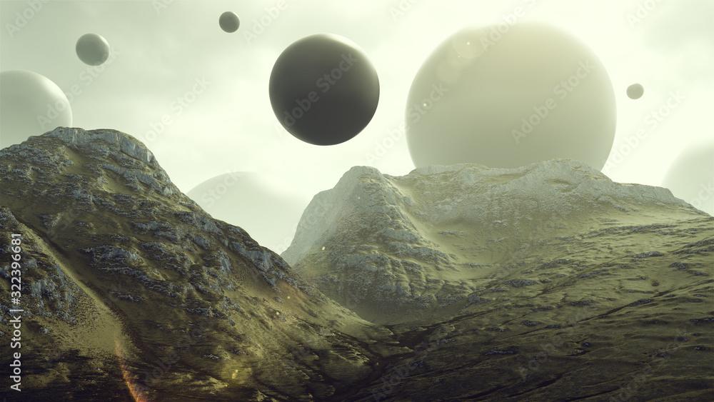 Fototapeta Rocky Hills with Floating Alien Geometric Sphere Shapes 3d rendering 3d illustration